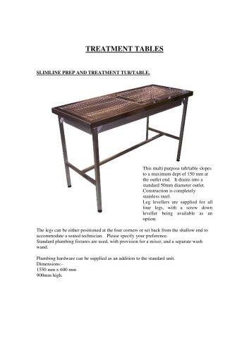 Slimline prep and treatment tub / table