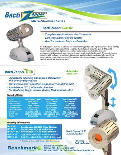 BactiZapper Sterilizer Series