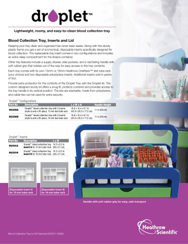 Droplet™ Blood Collection Tray And Cart