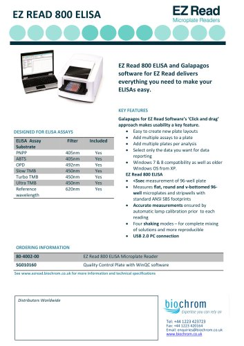 EZ Read 800 Datasheet