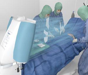 fluxo laminar de ar para sala de cirurgia