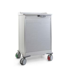 carrinho de distribuição de medicamentos / de transporte / para medicamentos / com porta tipo persiana