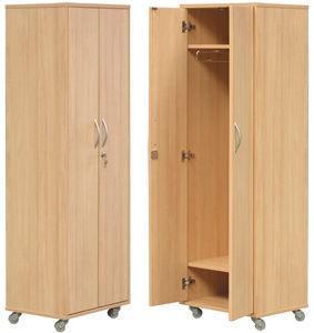 armário para arrumação / para quarto de pacientes / 2 portas / com rodízios