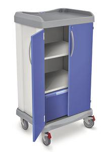 carrinho de transporte / para roupa lavada / com prateleiras / 2 portas