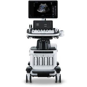 aparelho de ultrassom com carrinho / para ultrassonografia ginecológica e obstétrica / em preto e branco / doppler em cores