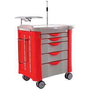 carrinho multifuncional / de emergência / para coleta de sangue / de sutura