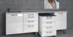armário para arrumação / para instrumentos odontológicos / para consultório odontológico / com gavetas