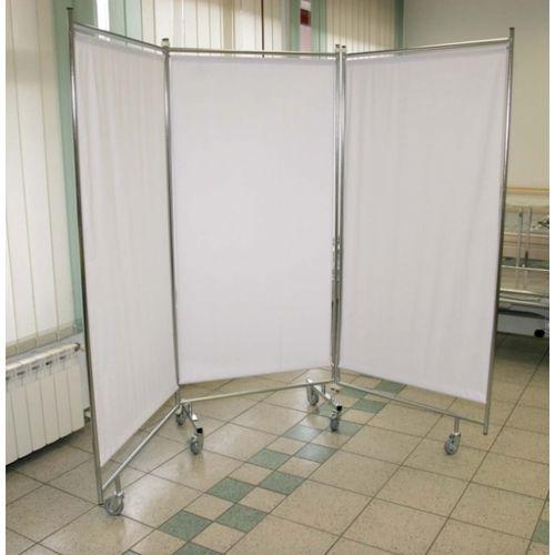 biombo hospitalar com rodízios / dobrável / 3 faces / com cortina