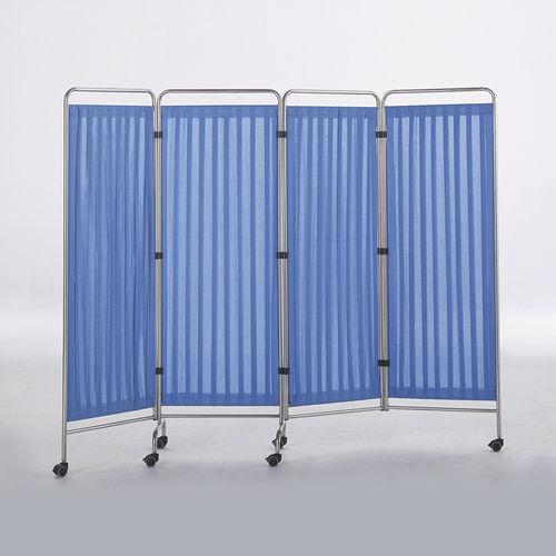 biombo hospitalar móvel / 4 painéis / com cortina