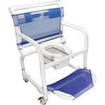 cadeira de banho / com abertura higiênica / com braços / com rodízios