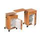 mesa de cabeceira com rodízios / com compartimento refrigerado / com gavetas / com mesa de refeição acoplada